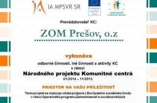 Komunitné centrum ZOM Prešov v prevádzke
