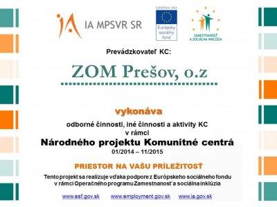 Aktivity Komunitného centra ZOM Prešov